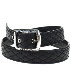 CHANEL Logo Quilted Buckle Belt Leather Silver Bl